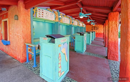 The order taking, payment, and food pickup area in the front of Animal Kingdom's Flame Tree Barbecue.