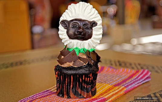 The Cotton Top Tamarin Cupcake features chocolate cake with butter cream icing and dark chocolate shavings.