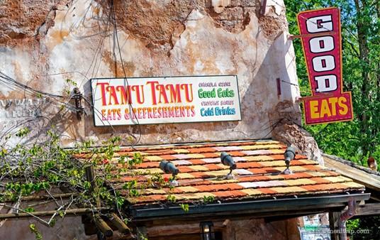 "The ""Good Eats"" sign on the exterior of the Tamu Tamu building."