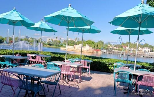 Outdoor seating area behind the Mango Joe's location.