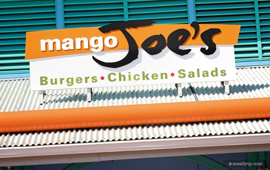 The rooftop sign above Mango Joes® Cafe.