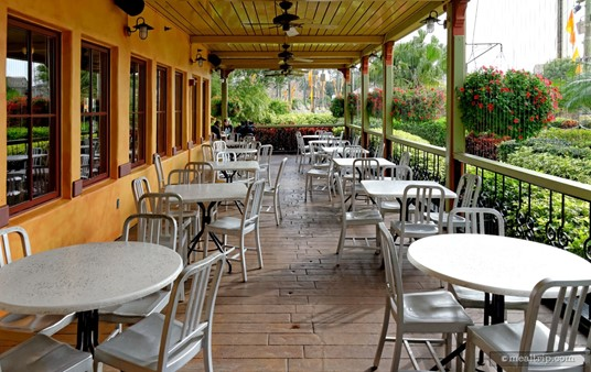 """An outdoor, covered patio area at Seafire Inn. (This area has now been turned into """"The Flamecraft Bar"""", starting around Spring 2017.)"""