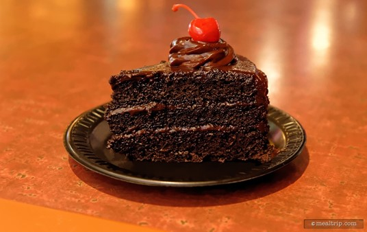 The Chocolate Cake that can be found at several SeaWorld, Orlando counter-service locations is a guest favorite. The three layer cake features an almost ganache-like chocolate frosting.