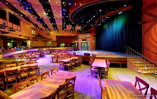 """Usually during lunch hours, the adjoining """"stage"""" room is open for  Seafire Inn guests to dine in. This area has been used for various shows  and experiences over the years."""