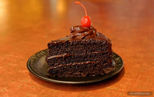 The Chocolate Cake that's available at most SeaWorld, Orlando counter service locations, is a guest favorite... and for good reason. It's a great three layer cake with just the right amount of thick, almost ganache-like chocolate frosting.
