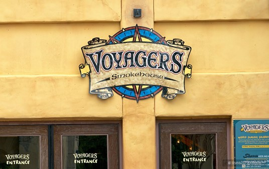 Voyager's Smokehouse sign above the front entrance.