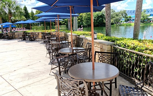 The Lakeside Panini seating area offers umbrella covered tables.