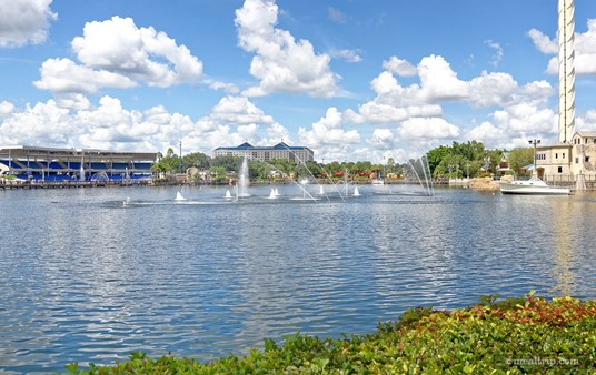 """A view of Bayside Stadium from the Lakeside Panini Bistro features a """"dancing water"""" show with music."""