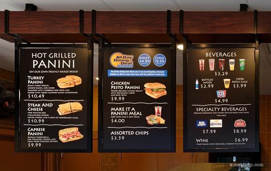 The Panini Shor Cafe menu board (circa Fall 2017).