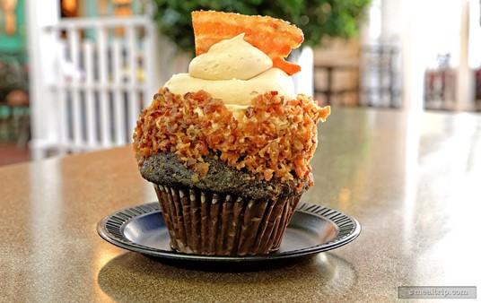 A Chocolate Maple Bacon Cupcake from SeaWorld Orlando's Cypress Bakery.