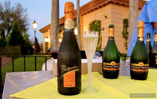 A flute of Prosecco from Italy at the IllumiNations Sparkling Dessert Party.