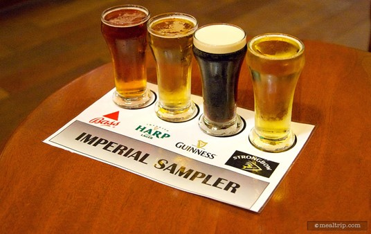 The beer flight at Rose & Crown's After Hours event includes a Bass, Harp, Guinness, and Strongbow.