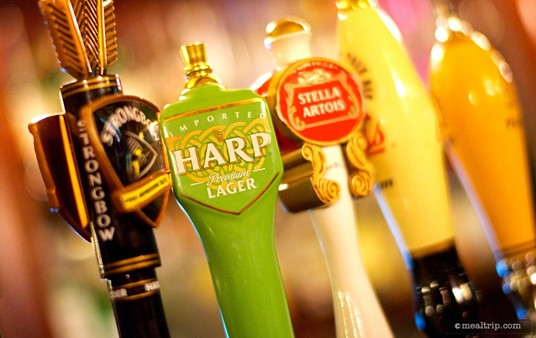 The Harp Lager beer tap handle at the Rose & Crown Pub.