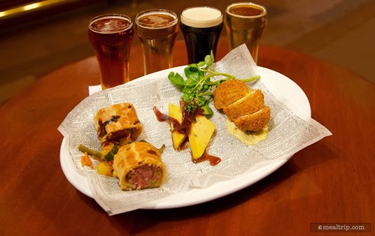 After Hours at Epcot's Rose & Crown Pub pairs a four glass beer flight with a three item food plate.