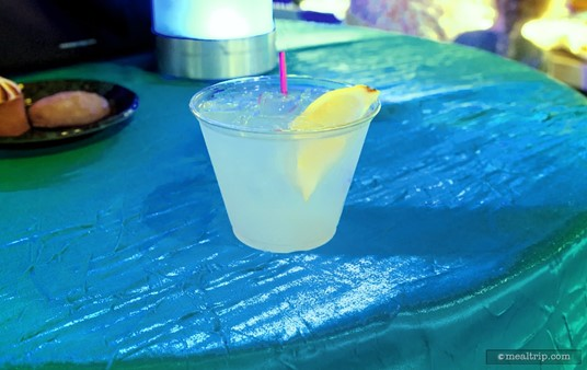 """""""Warm Winter Grog"""" Which is a mix of Citrus Vodka, Lemonade and Ginger Beer from the Frozen Dessert Party at Hollywood Studios."""