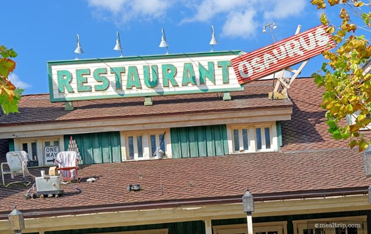 There's all kinds of detail surrounding the Restaurantosaurus sign over the main entrance. Look close for tiny dinosaurs.
