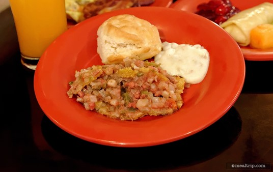 Spiced Corn Beef Hash with Cornbread Topping, a fairly light Biscuit, and savory Sausage Gravy.