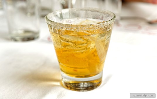 The Ginger Spice Side Car in a sugar rim glass.