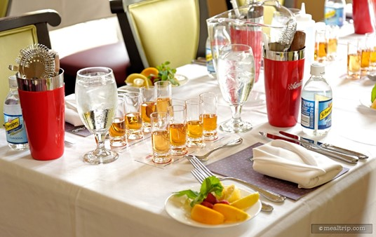 Each place setting has everything you'll need for the Grand Marnier mixology event.