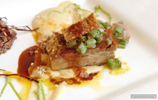 Pork Belly Carnitas with a tequila gastrique reduction.