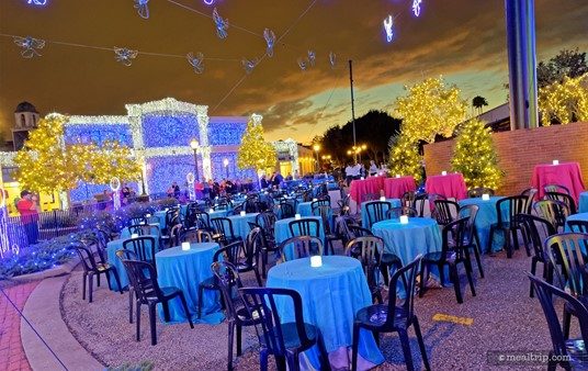 Seating look west at the Frozen Premium Package dessert party.