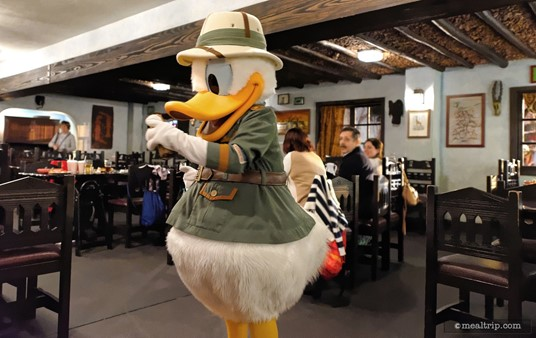 Years ago, Donald was the character you would meet outside and have your photo taken with. Now, all four characters roam around the various dining areas of Tusker House.