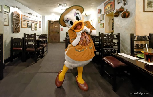 A perfect pose from Daisy Duck who is showing off her safari outfit.