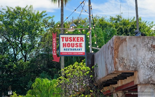 Check In sign high above the entrance to Tusker House.