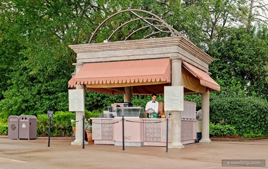The virtually unmarked Gelati Italian Gelato kiosk is on the far  left-hand side of the Italy Pavilion at Epcot (when facing Italy, with  the lagoon behind you).