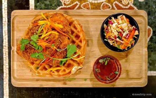 The presentation of Yak and Yeti's Korean Fried Chicken Waffle was amazing!