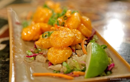 """There were around 20 shrimp on the Firecracker Shrimp """"Small Plates"""" appetizer."""