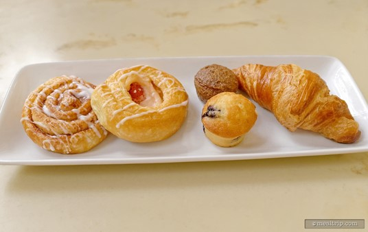 This assorted Pastries tray is to be shared between one to four guests. If there are five to eight guests in your party, you'll get two of these plates.