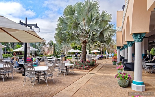 There are quite a few outdoor tables at the Zagora Cafe.