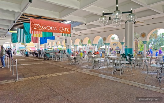 The under-cover seating area at Zagora Cafe is easily accessible. In this photo, the main order and food pickup area is along the left side.