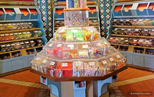 There's a traditional old-time candy store display in the middle of Sultan's Sweets where you can scoop out candy into bags.