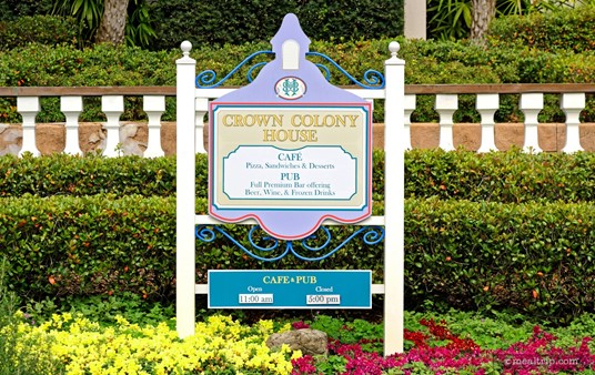 The Crown Colony House hours of operation sign, along what had been the front entrance of the historic building.