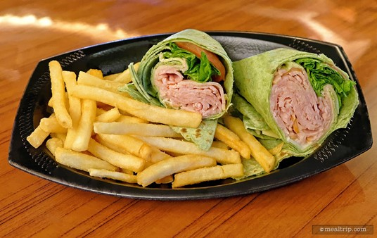 A turkey wrap with fries from the Crown Colony House.