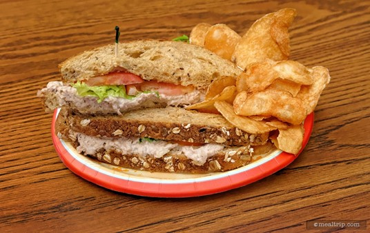 The Anchors Aweigh Sandwich at Columbia Harbour House features              White Tuna, Lettuce, and Tomato on Toasted Multigrain Bread with Potato Chip.