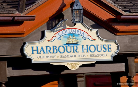 West facing sign above one of Columbia Harbour House's many entrances.