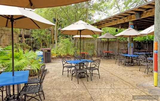 There is also a fully covered area (to the right of this photo), but all seating at Begal Bistro is open-air.