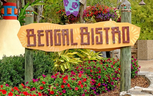 The Bengal Bistro sign outside the front entrance of the restaurant in the Jungala® area of Busch Gardens.