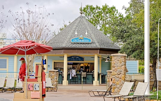 """The pool-side bar at Disney's Saratoga Springs resort is called """"On the Rocks""""."""