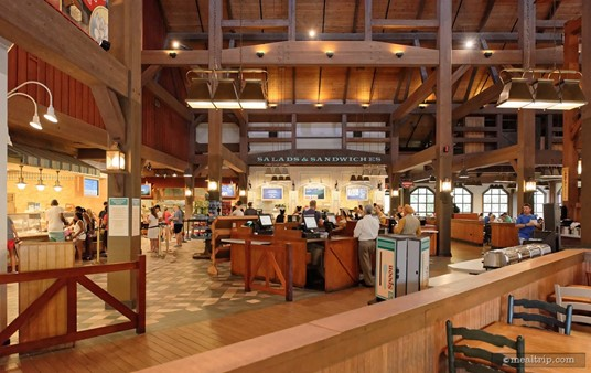 Here's a side photo of the payment area. The ceiling is very tall in most of the Riverside Mill dining area.