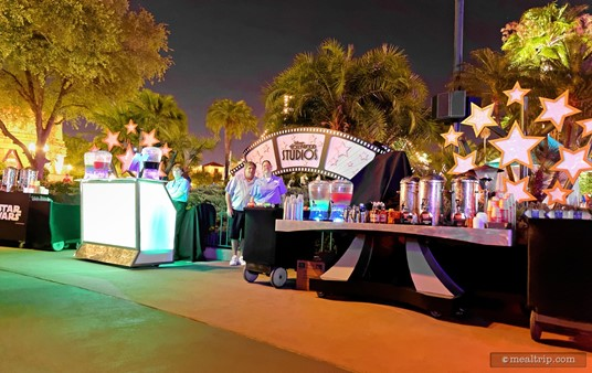The beverage stations from the Feel the Force Star Wars Dessert Party are located on one side of the area and include everything from the adult cocktails (that are mixed by bartenders), juice-only versions for the younglings, and a hot coffee and tea station. Cold sodas and water are also available.