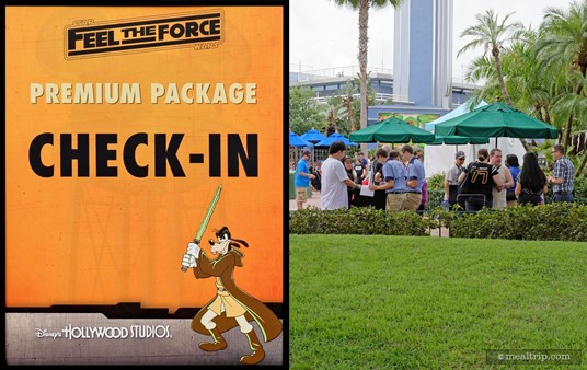 The Feel the Force Premium Package (basic package) check-in location is between the Min and Bill's Dockside Diner area and the main Star Wars courtyard stage. (The old American Idol building is in the background.)