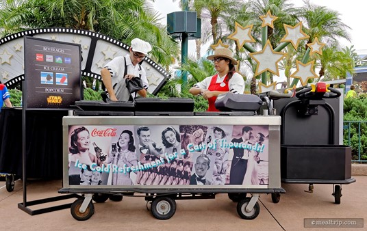 The snack cart for Hollywood Studio's Feel The Force Premium Package is where you can pick up your complimentary soda, water, ice cream and juice bar treats, and popcorn!
