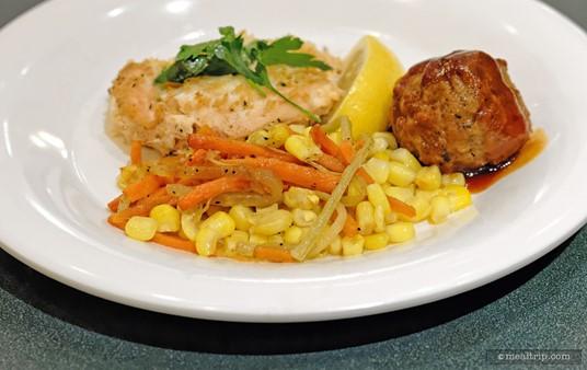 Plated Cantina Corn, Asiago Ranch Chicken, Mos Eisley Barbecue Meatball.