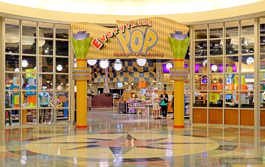 You will have to go through the Everything Pop gift shop to get to the Everything Pop Food Court. The restaurant is not obviously visible from the lobby area, but once you get past the sign, you'll see the food court.