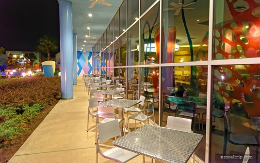 The outdoor seating area at Landscape of Flavors.