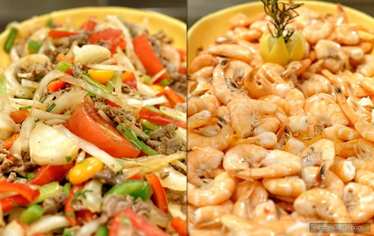 """In the """"prepared salads"""" section you will find the Beef Salad (left) and Shrimp and Cocktail Sauce (right)."""